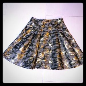 Limited pleated gold silver metallic brocade skirt
